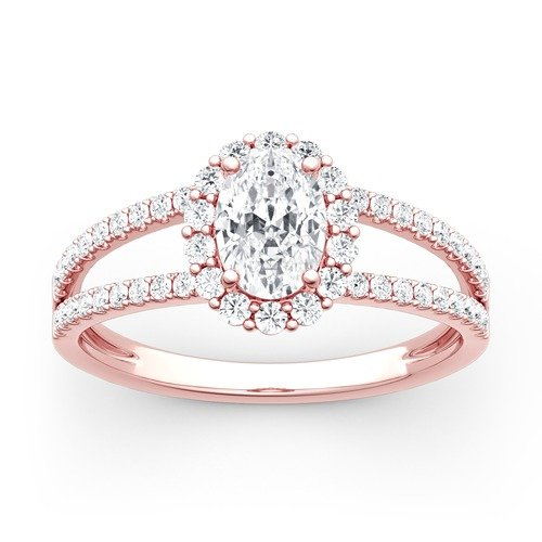 Jeulia Bague Split Shank Halo Moissanite en Or Coupe Ovale