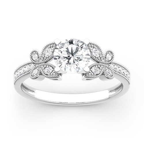 Moissanite Round Cut Butterfly Gold Ring