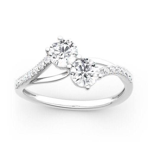 Moissanite Two Stone Round Cut Gold Ring