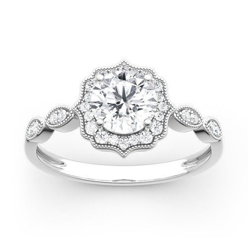 Moissanite Halo Round Cut Vintage Gold Ring