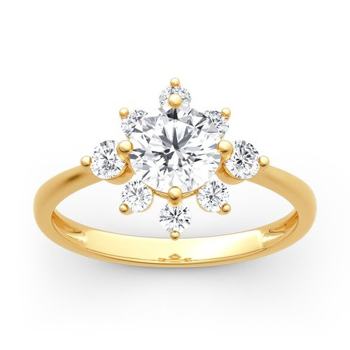 Jeulia Moissanite Round Cut Vintage Gold Ring