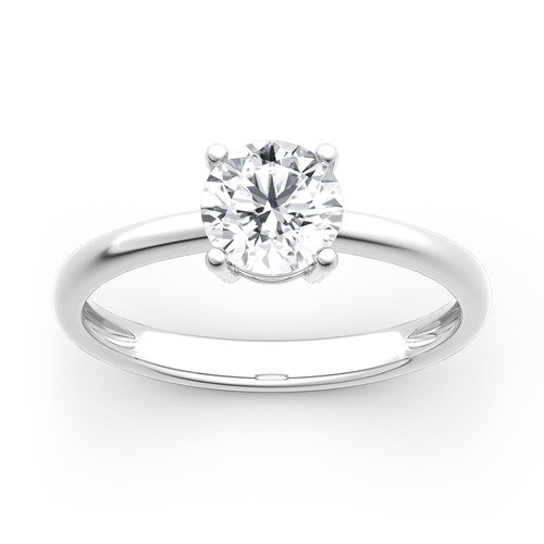Jeulia Bague Solitaire Diamant Moissanite en Or Coupe Ronde