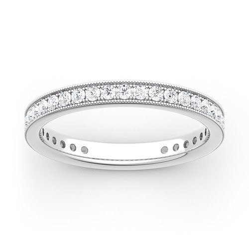 Moissanite Milgrain Eternity Gold Band