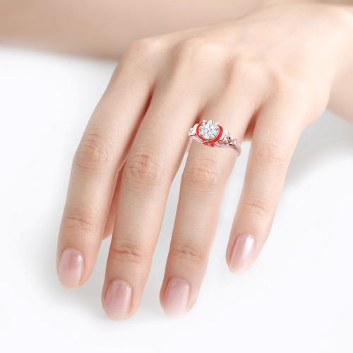 Moissanite Round Cut Heart Design Enamel Two Skull Gold Ring