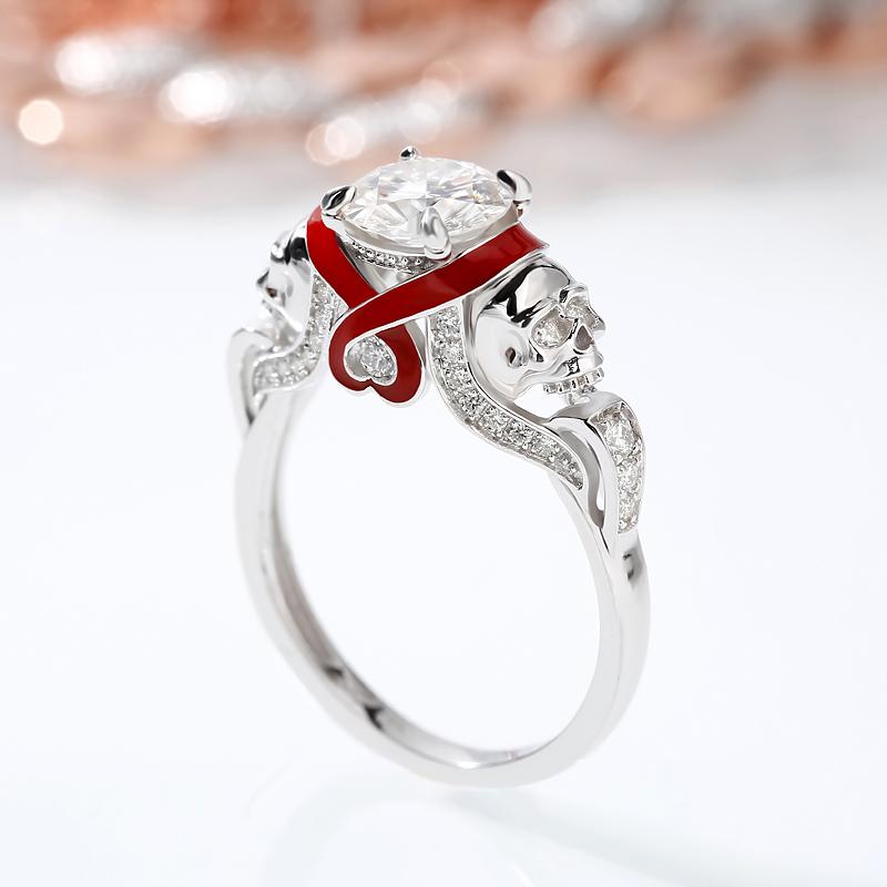 5c199ce07 Moissanite Round Cut Heart Design Enamel Two Skull Gold Ring ...