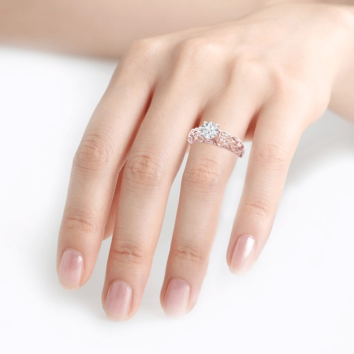 Moissanite Round Cut Vines Design Gold Ring