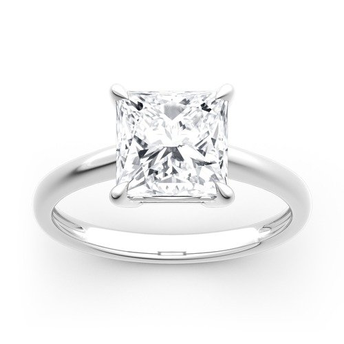 Moissanite Princess Cut Solitaire Gold Ring