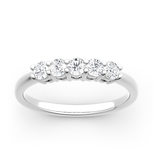 Moissanite Five Stone Round Cut Gold Band