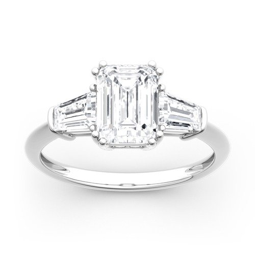 Moissanite Three Stone Emerald Cut Gold Ring