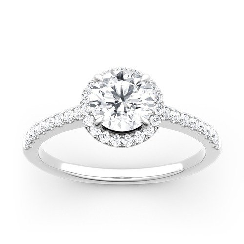 Moissanite Halo Round Cut Gold Ring