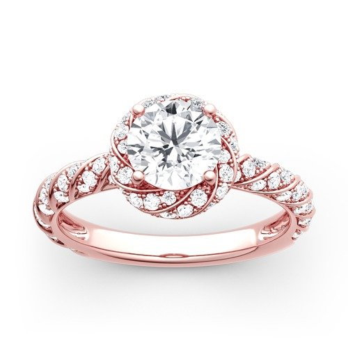 Moissanite Floral Halo Round Cut Gold Ring