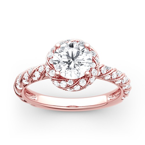 Jeulia Moissanite Floral Halo Round Cut Gold Ring