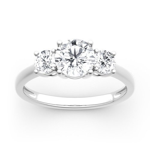 Moissanite Three Stone Round Cut Gold Ring