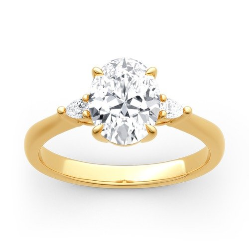 Jeulia Moissanite Three Stone Oval Cut Gold Ring
