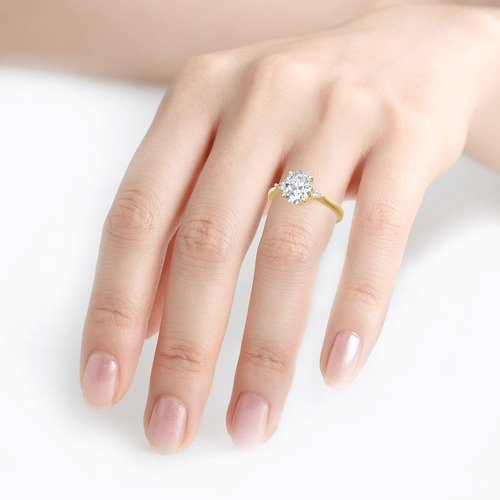 Moissanite Three Stone Oval Cut Gold Ring