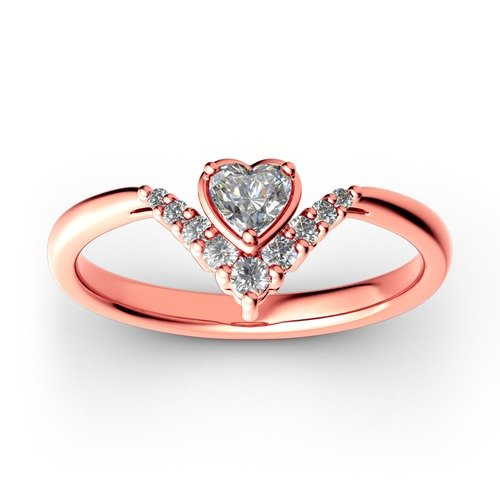 Jeulia Heart V Shape Sterling Silver Ring