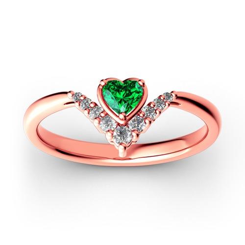 Jeulia Heart V Shape Sterling Silver Ring