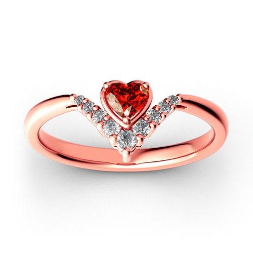 Heart V Shape Sterling Silver Ring