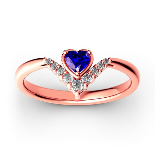 Heart V Shape Sterling Silver Ring