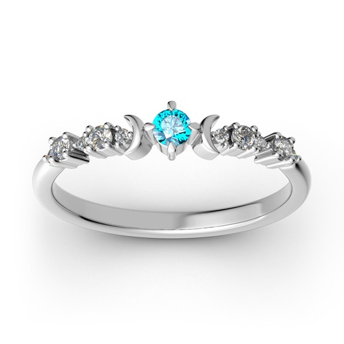 Jeulia Stackable Crescent Moon Sterling Silver Ring