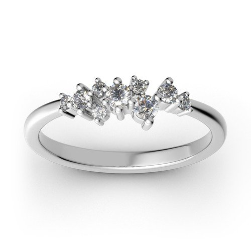 Jeulia Stackable Cluster Sterling Silver Ring