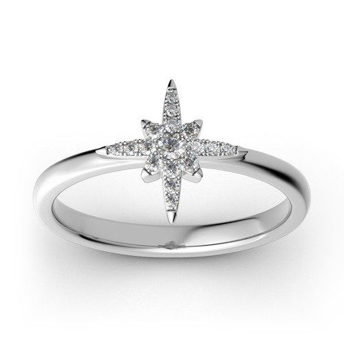 Jeulia Stackable Star Sterling Silver Ring