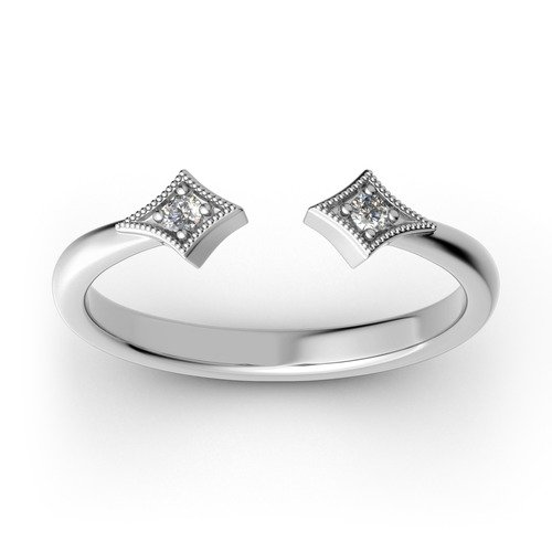 Jeulia Stackable Rhombus Sterling Silver Open Ring