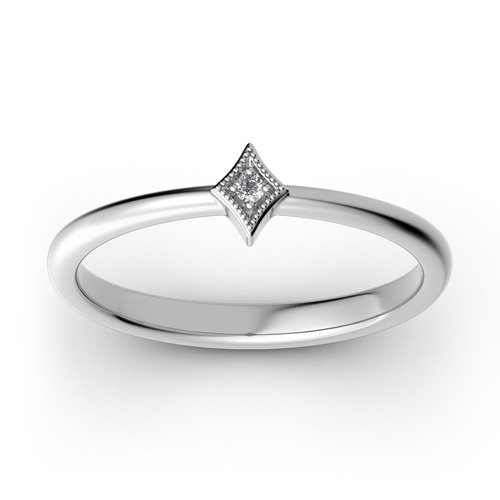 Jeulia Stackable Rhombus Sterling Silver Ring