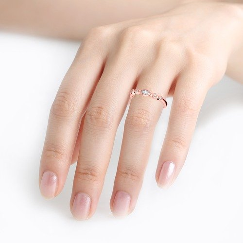 Jeulia Stackable Milgrain Sterling Silver Ring