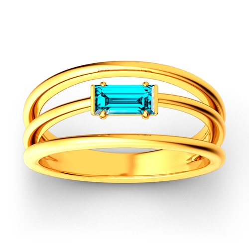 Split Shank Emerald Cut Sterling Silver Ring
