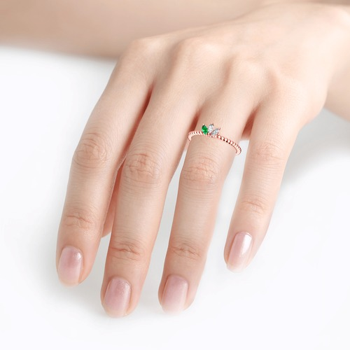 Jeulia Stackable Bead Sterling Silver Ring