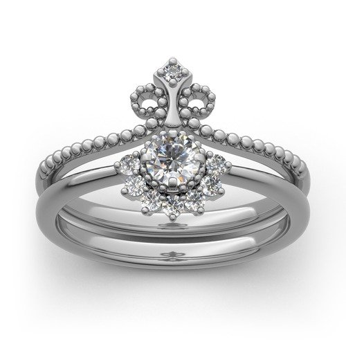 Jeulia Corona Perla Anello Set In Argento Sterling