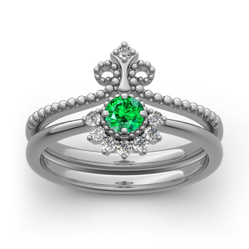 Jeulia Crown Bead Sterling Silver Ring Set