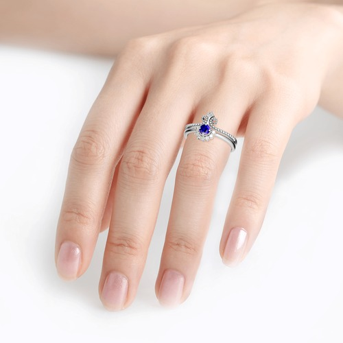Crown Bead Sterling Silver Ring Set