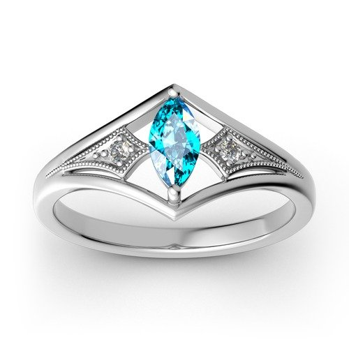 Milgrain Marquise Cut Sterling Silver Ring