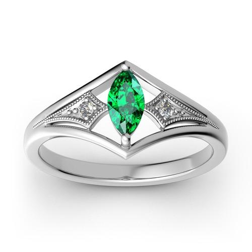 Jeulia Milgrain Marquise Cut Sterling Silver Ring
