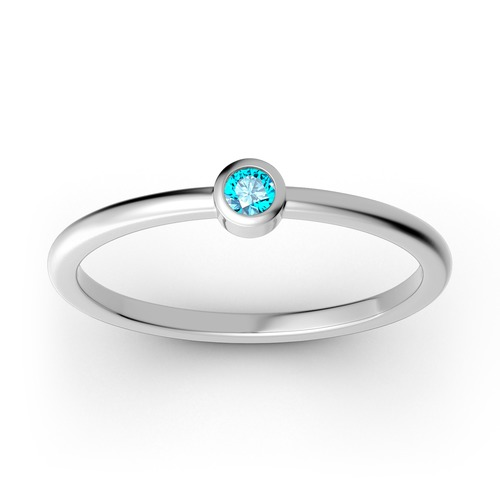 Stackable solitaire Sterling Silver Ring