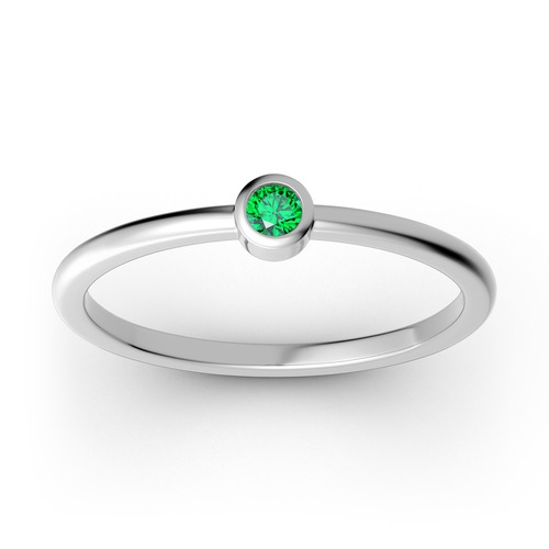 Jeulia Stackable solitaire Sterling Silver Ring