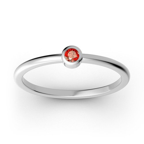 Impilabile Solitario Anello In Argento Sterling