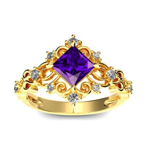 Jeulia Vintage Princess Cut Sterling Silver Ring