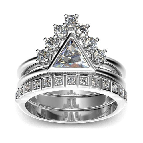 Jeulia Stapelbar Trillion-Schliff Sterling Silber Ring