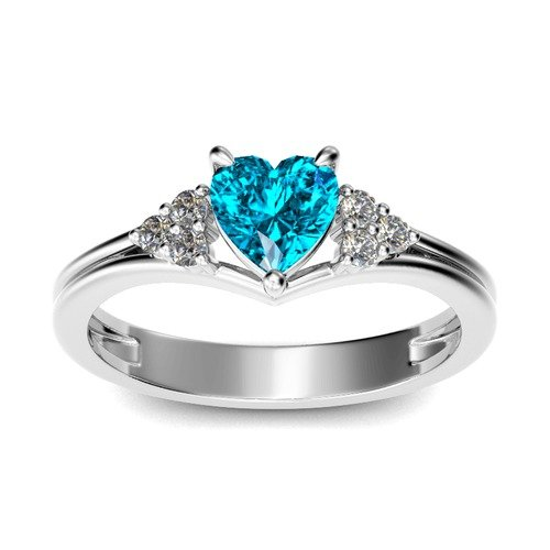 Jeulia Classic Heart Cut Sterling Silver Ring