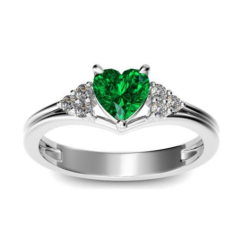 Jeulia Classic Heart Cut Sterling Silver Ring