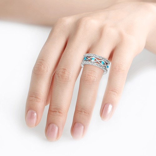 Stackable Round Cut Sterling Silver Ring