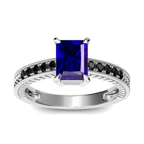 Milgrain Radiant Cut Sterling Silver Ring