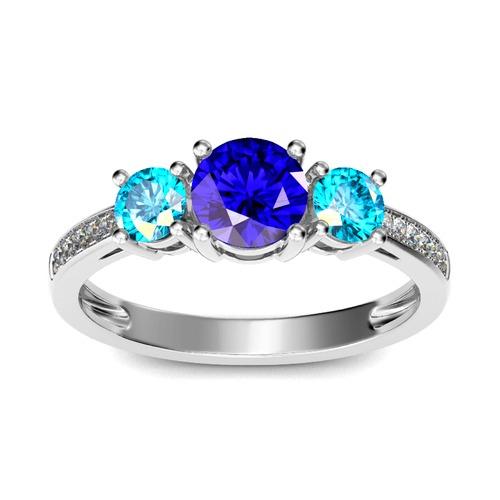 Jeulia Three Stone Round Cut Sterling Silver Ring