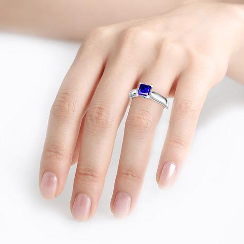 Sidestone Princess Cut Sterling Silver Ring