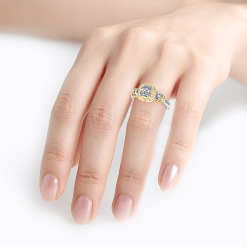 Three Stone Halo Princess Cut Sterling Silver Ring