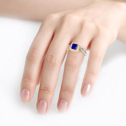 Jeulia Three Stone Halo Princess Cut Sterling Silver Ring