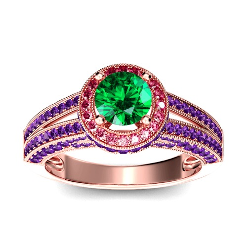 Jeulia Halo Rundschliff Sterling Silber Personalisiert Ring